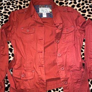 Rust burnt orange anorak military jacket medium